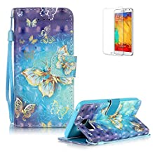Samsung Galaxy Note 5 Case Cover [with Free Screen Protector], Funyye Elegant Premium Folio 3D Patterns PU Leather Wallet Magnetic Flip Cover with [Wrist Strap] and [Credit Card Holder Slots] Color Painted Pattern Design Stand Case Cover for Apple Samsung Galaxy Note 5 - Blue Gold Butterflies