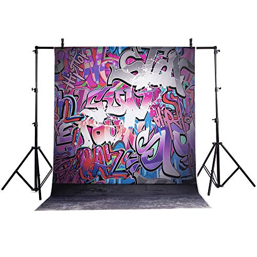 FLORATA 5 x 7ft (1.5 x2.1m) Hip Hop Themed Graffiti Party Photography Backdrops Personalise Background Art Painting Birthday Party Photo Props Studio Background -