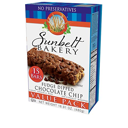 Sunbelt Bakery Fudge Dipped Chocolate Chip Chewy Granola Bars, 1.1 oz Bars, 15 Count