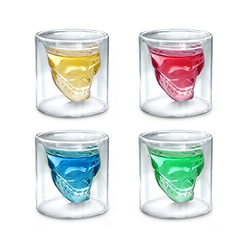 Skull Glass Mug,Set of 4 2.5oz Shot Glasses,Funny Crystal Drinking Cup for Men,Creative Whiskey Glasses,Double Wall Cool Beer Cup for Wine Cocktail Vodka,Home Halloween Party Bar Gift