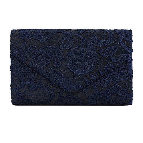 Clasichic Damen Frauen elegant Clutch Abendtasche Spitze Handtasche (dunkelblau)