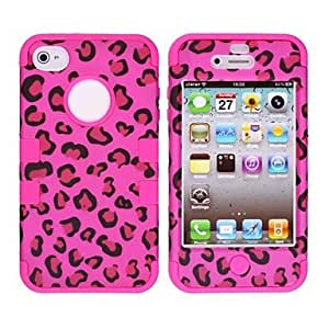 Leopard Print Pattern Protective Silicone Case for iPhone 4/4S (Assorted Colors) , Pink