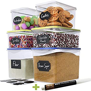 Chef's Path Large Food Storage Containers - Great for Flour, Sugar, Baking Supplies - BEST Airtight Kitchen & Pantry Bulk Food Storage - BPA Free - 6 PC Set & 8 FREE Chalkboard Labels & Pen
