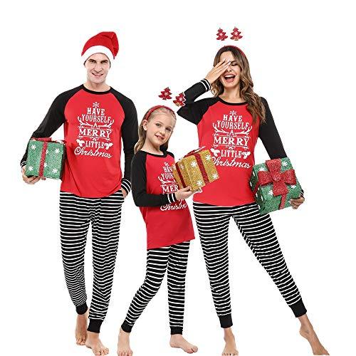 HAWITON Pijamas de Navidad para Mujer Hombre y Niños