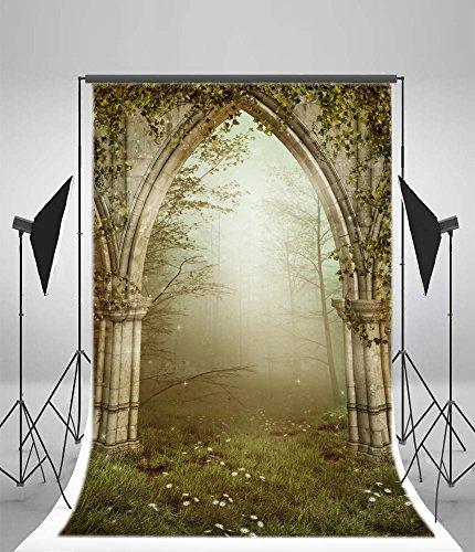 Yeele 5x7ft Gothic Garden Photography Backdrops Vinyl Dreamlike Fairytale Arch Gate Illustration Forest Ruin Photo Background Fantasy Jungle Flowers Grass Theme Portraits Shooting Studio -