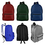 Wholesale 17'' Backpacks for Kids & Adults - Bulk Case of 24 Bookbags - 6 Assorted Colors
