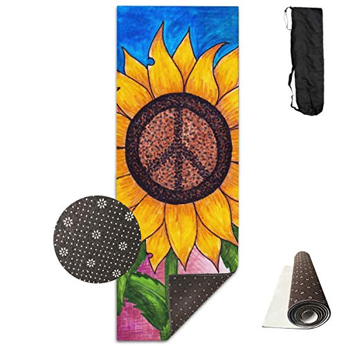 Unisex Fitness Yoga Mat Peace Sign Sunflower Unique Non-Slip Pattern Towels,Pilates Sports Paddle Board Yoga Exercise 24 X 71 Inches Durable Yoga Mats,All-Purpose ()