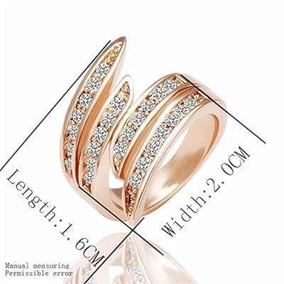 Ecloud Shop Rose plaqué or strass cristal bague en diamant