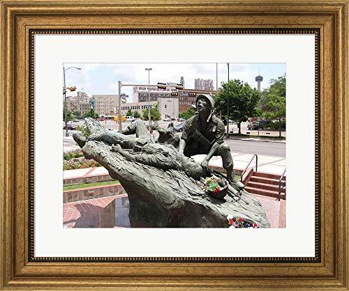 (San Antonio Texas Vietnam Veterans Memorial Framed Art Print Wall Picture, Wide Gold Frame, 21 x 17 inches)