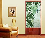 Vivid Animal Pattern Japanese Noren Doorway Curtain (Bird Green)