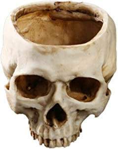 Yundxi Artificial Resin Human Skull Design Flower Pot Planter Container Skull Bowl for Home Bar Decoration (Style1)