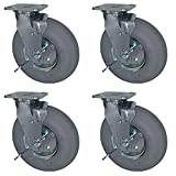 Service Caster - 8'' Gray Pneumatic Rubber Wheel - 4 Swivel Casters w/Brakes - Set of 4