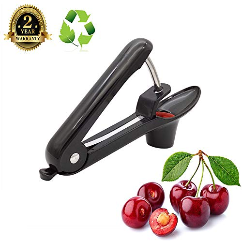 (Cherry Pitter-Olive Pitter Tool-Professional Cherry Stoner Seed Remover,Great for Pit Jam Cake Pitting Party Fruit Salad,Lengthened Splatter Shield by J-Sheng(Black))