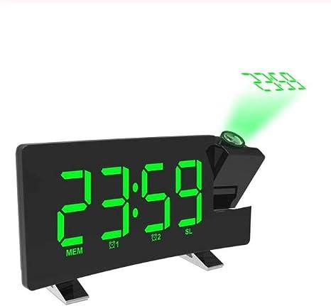 JIAHANLI Reloj Despertador Reloj Digital LED Proyector Proyección ...