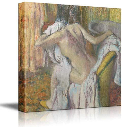 Wall Art Canvas Paintings After the Bath,Woman drying herself by Edgar Degas Wall Decor with Framed Canvas Prints Ready to Hang for Living Room office kitchen Artwork Decor12