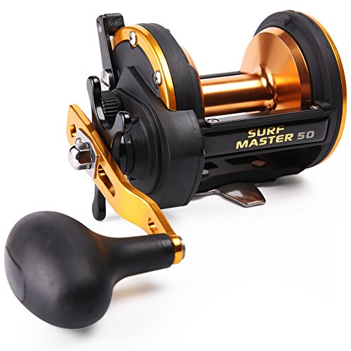 Level Wind Trolling Reel (Sougayilang Trolling Reel Graphite Level Wind Fishing Reels, High Speed Gears Smoothest Drag, Popular Method Used for Boat Saltwater Surf Casting Fishing)