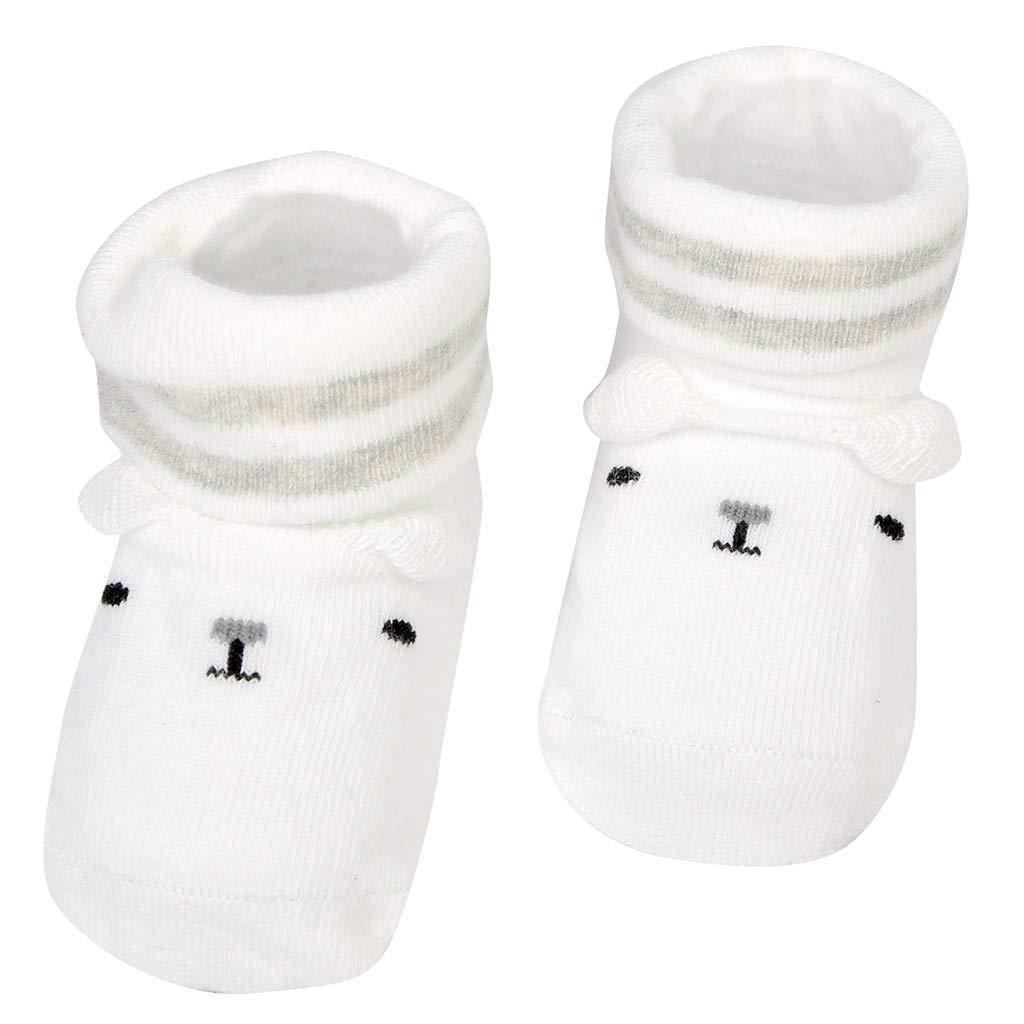 NUWFOR Newborn Baby Boys Girls Cartoon Ears Floor Socks Anti-Slip Baby Step Shoes Socks(White,12-15Months)
