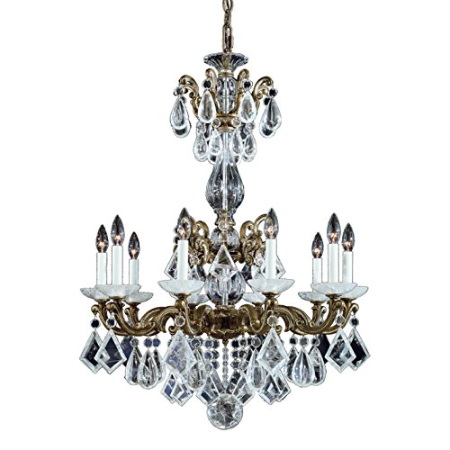 - Schonbek 5408-23 Swarovski Lighting La Scala Rock Crystal Chandelier, Etruscan Gold
