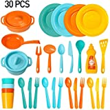 Kitchen Toys Set for Kids, Muscccm Pretend Play Cooking Toys Set for Kids Tableware Dishes Playset(30 Pcs)