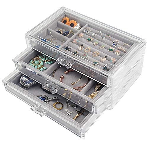 Tasybox Clear Jewelry Box Organizer 3 Drawers Velvet Jewellery Boxes Acrylic Ring Earring Necklace Bracelet Holder Display Case Gift for Women Girls Men (Gray)