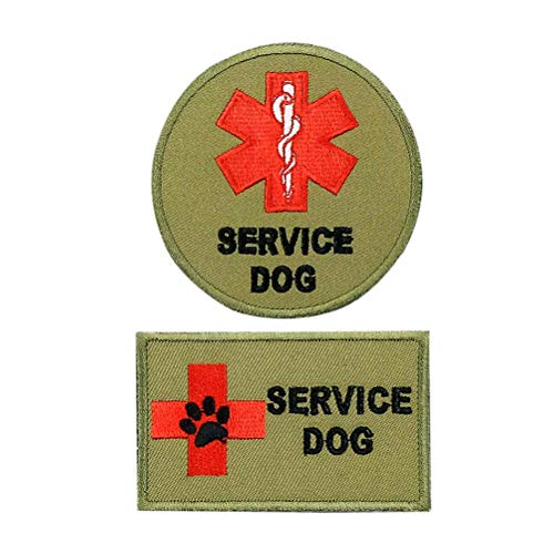 FAYOGOO Dog Service Patch Vecro Embroidered Patches for Dog Harness Vest Jacket Saddle Bag Pouch Backpack, with Pet Dog Puppy Cat ID Tag, 2 PCS, Military Green, Rectangle ()
