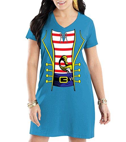 Jason V Costume (WOMENS Pirate Costume V-NECK Nightshirt (Small, LIGHT BLUE))