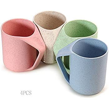Superelead 4PCS Multicolor Wheat Straw Biodegradable 13.5Ooz Unbreakable Drink Cup Tumblers for Water, Coffee, Tea, Milk, Juice