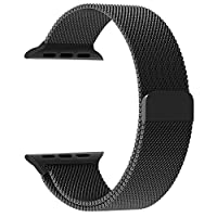 Apple Watch Band, Penom Fully Magnetic Closure Clasp Mesh Loop Milanese Stainless Steel Bracelet Strap for Apple iWatch Sport & Edition 38mm - Black