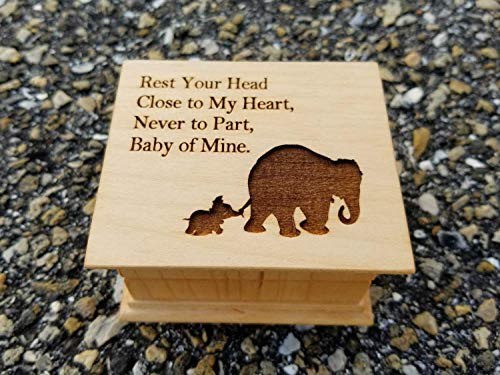 Engraved music box with elephants on the top, personalizing on the bottom side is available with your choice of color and song, great Valentine's gift