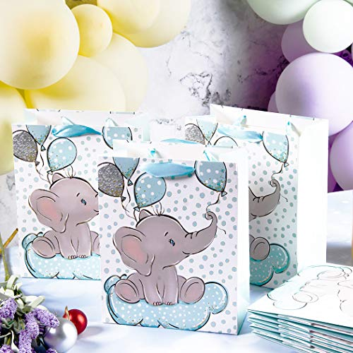 NPLUX 24 Packs Elephant Baby Gift Bag Baby Shower Goodie Bags Birthday Party Favor Bags for Kids Animal Theme Party Supplies,Blue