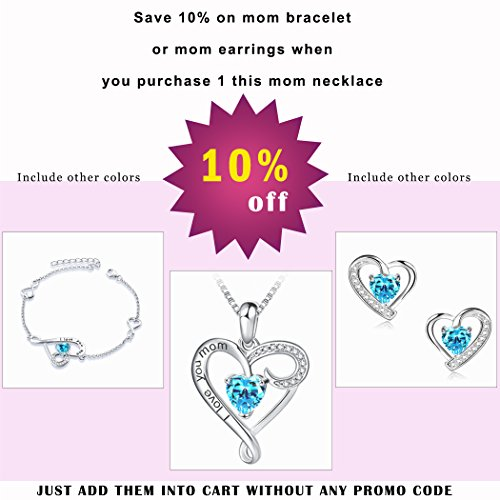 Mother's Birthday Gift''I Love You Mom'' S925 Sterling Silver Heart Pendant Necklace (I Love You Mom-Blue Heart) by Long Way (Image #6)