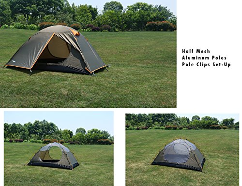 Luxe Tempo Enhanced Version 2 Person Tents for C&ing Backpacking with Rainfly 3-4 season 2 Doors 2 Vestibules Blue - Ideal C&ing Gear & Luxe Tempo Enhanced Version 2 Person Tents for Camping Backpacking ...