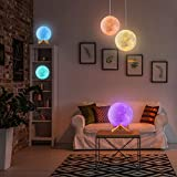 Moon Lamp, 3D Printing 16 Colors RGB Led Moon Light with Stand and Timing Setting, Moon Light Lamps with Remote & Touch Control and USB Recharge for Kids Lover Birthday Christmas Gifts