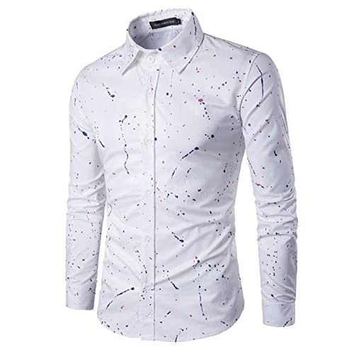 DianShao Hombre Elegantes Slim Fit Manga Larga Camisa Flores Estampadas Tops rvexLPOdi