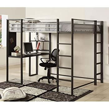 Amazon Com Parkview Full Workstation Loft Bed Black Kitchen Dining