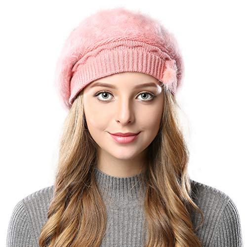 EachEver Women's Knit Wool Beret Beanie Winter Warm Fleece Lined Hats Pink