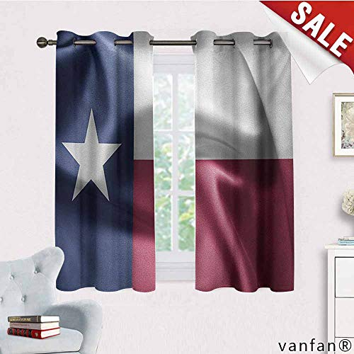 Big datastore Exclusive Home Curtains,Western,State of Texas Flag with Star Freedom Symbol Wind Blow Effect Print,with Grommet Topmaroon Dark Blue White,W72 Xl45
