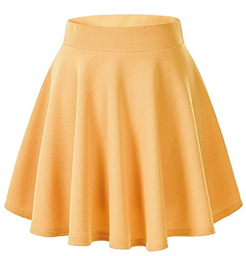 Moxeay Women's Basic A Line Pleated Circle Stretchy Flared Skater Skirt (Large, ()