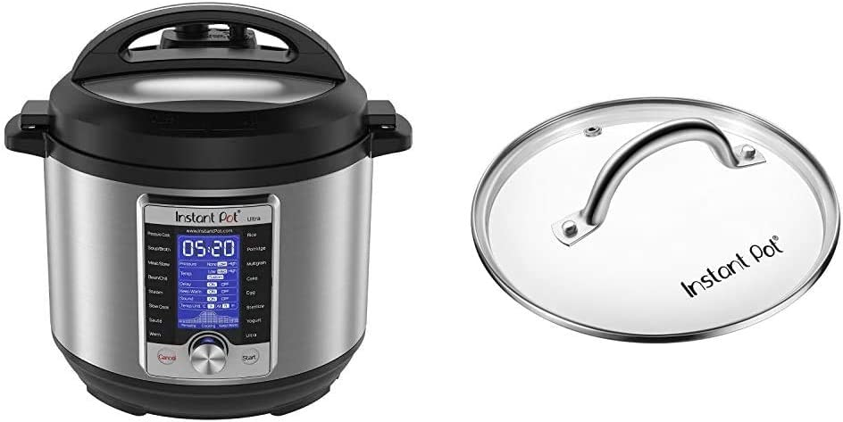 Instant Pot Ultra 10-in-1 Electric Pressure Cooker, Sterilizer, Slow Cooker, Rice Cooker, 6 Quart, 16 One-Touch Programs & Genuine Instant Pot Tempered Glass Lid, 9 in. (23 cm), 6 Quart, Clear