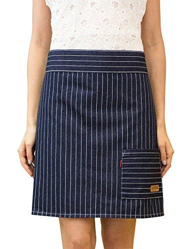 Vantoo Unisex Pinstriped Denim Waist Apron with Convenient Pocket,Navy Blue