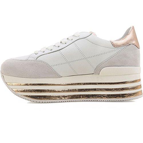 Hogan Sneakers Donna Maxi H222 Monogramma Impunturato Mod. HXW3490J061I7X0989 Bianca e Oro 2014 new sale online rhAl8sr