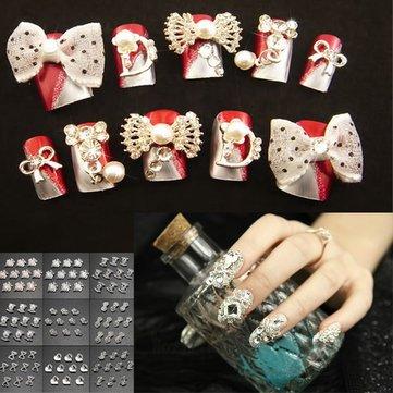 3D Bowknot Square Heart-shape Rhinestone Metallic Nail Stickers - Nail Art Nail Decoration - (#07) - 1 X 10pcs Nail Art Sticker