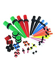 BODYA 36 Acrylic colorful mix size Taper Kit with Plugs Taper Stretching Kit 14G-00G with Double O-rings Acrylic Plug Kit