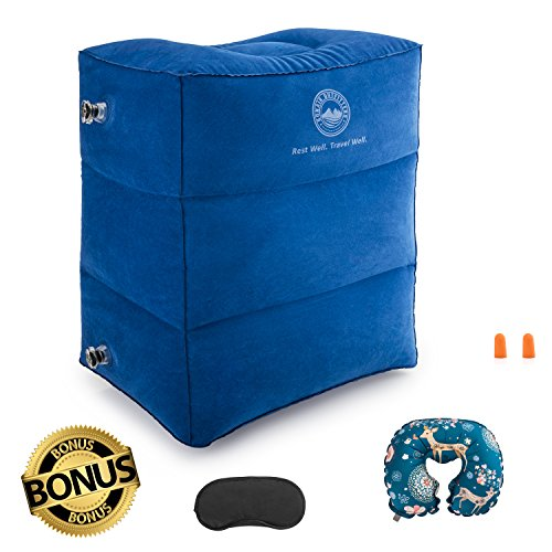 Airplane Travel Bed for Kids, Height-Adjustable Travel Pillow Leg Rest. Travel Accessories as Kids Bed Box, Car Seat Footrest, Leg Pillow with BONUS 4PC BUNDLE - Neck Pillow, Eye Mask and Earplugs.