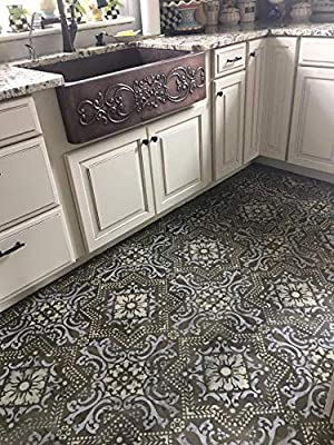 Royal Design Studio Lisboa Tile Stencils for DIY Painting Accent Wall and Floor