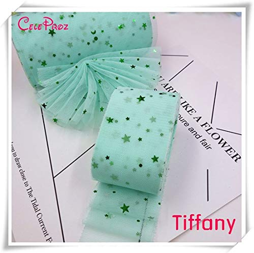 DalaB 25Yards 6m Star Moon Tulle Mesh Ribbon Roll Spool Tutu Pom Soft Squine Tulle DIY Crafts Decoration - (Color: Tiffany Blue)