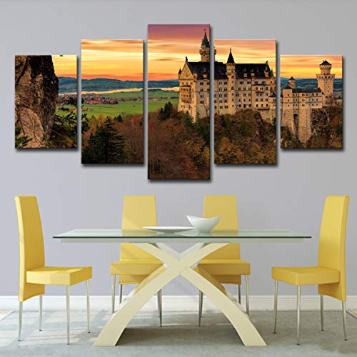 Price comparison product image Home Decor Living Room Decor Framed Wall Art Wall Decorations Wall Art Painting Pictures of New Swan Stone Castle on Canvas 5 pac / Set, Painting+innerframe