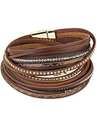 Leather Wrap Bracelet for Women Multiple Stud Beads Charm Cuffs Wristband for Women Girls