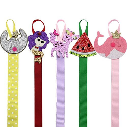 Nancyus005 5 Pcs Fruits Animal Hair Bow Holder Organizer Storage Hanger for Girls Hair Clips Organizer Holder - 22 Inch Long