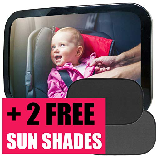 (Baby Car Mirror + Car Sun Shade (2pcs), Safety Backseat Mirror for Rear Facing Infant, Largest and Most Stable Crystal Clear Wide View Mirror, Fully Assembled)